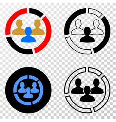 social pie chart eps icon with contour vector image