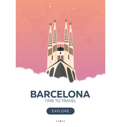 spain barcelona time to travel travel poster vector image