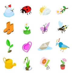 spring elements icons set isometric 3d style vector image