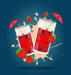 Strawberry cocktail vector