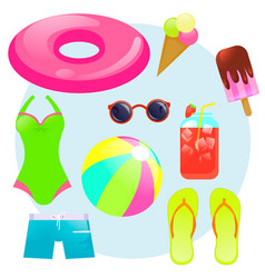 summer set with things for the beach vector image
