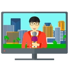 Television set broadcasting interview vector image