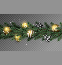 transparent christmas garland with gold ornaments vector image