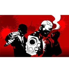 Two men in a red night vector