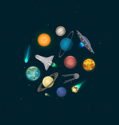 universe discovery banner with cosmic elements vector image