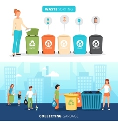 Waste Sorting Recycling Flat Banners Set vector