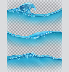 wave of water and bubbles 3d set vector image