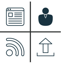web icons set collection of wifi send data vector image