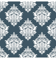 White and blue seamless floral background pattern vector image