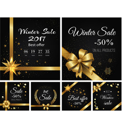 winter sale 2017 and best offer on all products vector image