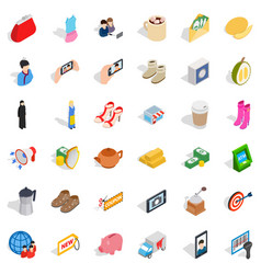 Woman food icons set isometric style vector