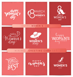 womens day typographical minimal greeting card set vector image vector image