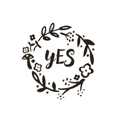 yes wreath doodle vector image