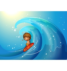 A little man surfing vector image vector image