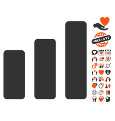 Bar chart increase icon with lovely bonus vector