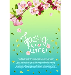 Card for text with blooming apple tree vector image