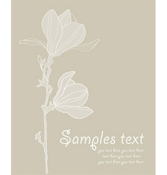 card with stylized magnolia re vector image