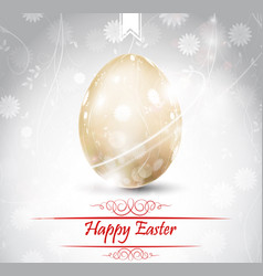 easter greetings card with golden egg vector image vector image