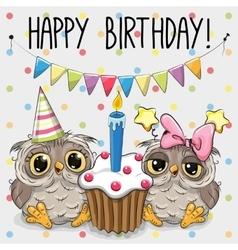 Greeting card two cute Cartoon Owl vector image
