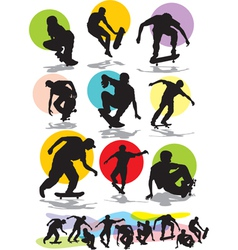set skaters silhouettes vector image vector image