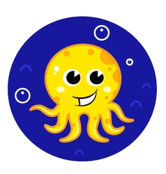 Yellow cartoon octopus in sea water vector image vector image