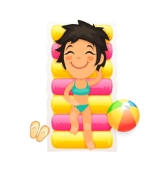 Young Girl Relaxing on a Swim Mattress vector image
