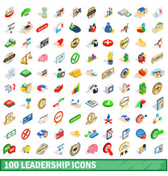 100 leadership icons set isometric 3d style vector image vector image