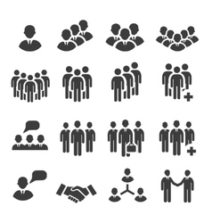 Crowd of people in team icon silhouettes vector image