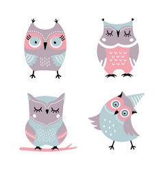 cute cartoon owls set vector image vector image