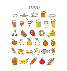 different meal thin line color icons set vector image vector image