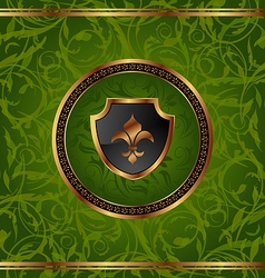 Royal golden frame with medallion and fleur de lis vector image