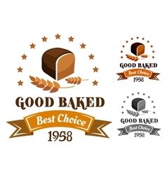 Rye bread banner or label vector image