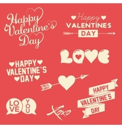 Set Of Happy Valentine s Day Hand Lettering vector image