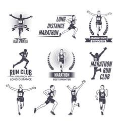 sport labels at marathon theme for sport teams vector image vector image