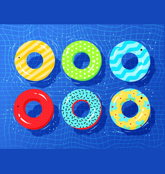 top view collection of rubber rings vector image