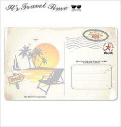 Vintage summer postcard vector image vector image