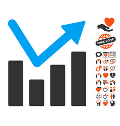 bar chart trend icon with dating bonus vector image vector image