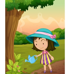 Girl watering plants vector image