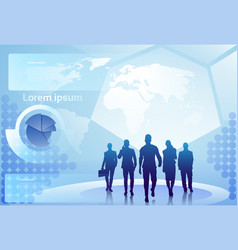 Group of business people silhouette walking over vector