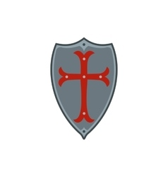Medieval shield with red cross icon flat style vector image vector image