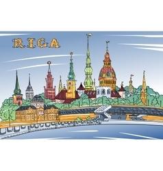Old Town and River Daugava Riga Latvia vector image vector image
