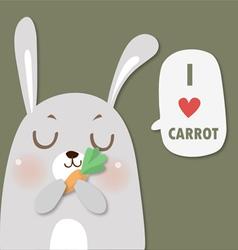 rabbit love carrot vector image vector image