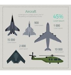Set of Military Aircraft vector image vector image