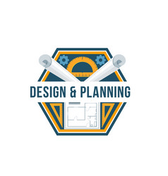 building design and architectural planning badge vector image