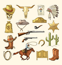 colored of wild west symbols vector image