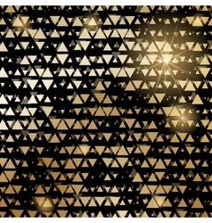 Golden shiny triangle mosaic on black vector image vector image