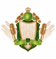 musical heraldic shield vector image vector image