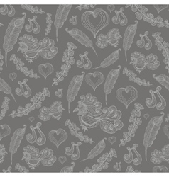 Seamless abstract pattern with grey bird of vector image