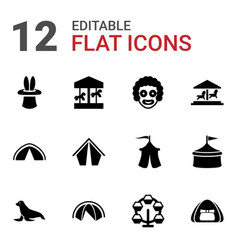 12 circus icons vector