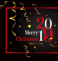 2019 merry christmas stylish card on a black vector image